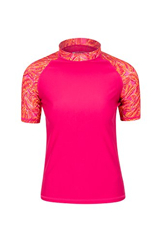 Mountain Warehouse Gemustertes Badeshirt für Damen - LSF50+, Kurzarm, schnelltrocknend, Badebekleidung mit flachen Nähten, dehnbares Sommeroberteil - Für Schwimmen leuchtendes Pink DE 32 (EU 34)