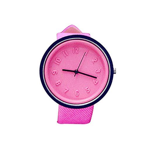 Damen Herren Kunstleder-Uhrenarmband-Quarz-Runde Geformte Legierung Shell Students beiläufige Armbanduhr Mengonee