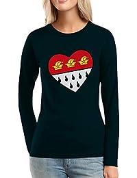 583148be98dd9f Love Köln Herz Wappen Hofnarr - Karneval Fasching Frauen Langarm-T-Shirt
