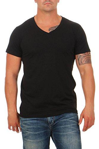 Happy Clothing Herren T-Shirt V-Ausschnitt Meliert Comfort Bügelfrei, Größe:XS, Farbe:Schwarz