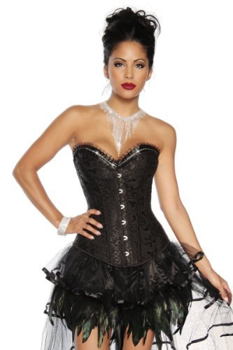 Burlesque-Corsage Rock Burlesque-Kleid Kostüm Hexe Vampir Gothic (L-38, Corsage Rock)