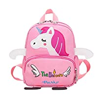 Bledyi Backpack Toddler Kids Bag for Boy Girl with Safety Harness Leash Little School Bag Cute Horse Backpack Design for Kids 2-6 Age (Pink-3)