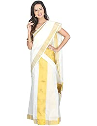K S Collection Women's Kerala Kasavu Cotton Set Mundu Saree (KSC-020_Off-White_Free Size)
