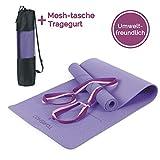 TOMSHOO Gymnastikmatte Basic + Tragegurt - Yogamatte rutschfest - Trainingsmatte TPE - 183 x 61 x 0,6cm - Hautfreundliche - Phthalatfreie Fitnessmatte