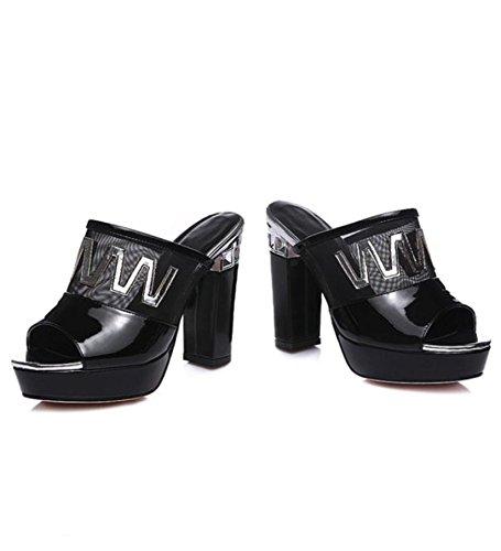 Heart&M Style décontracté brevet en cuir pour femme Mesh Semelle en caoutchouc peep-toe 11.5CM haut talons Chunky Chaussons Black