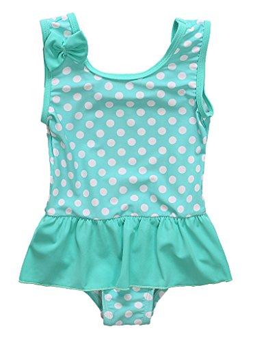 CharmLeaks Baby - Mädchen Einteiler Badeanzug UV-Schutz Grün Mit Pünkte 3-6 Monate