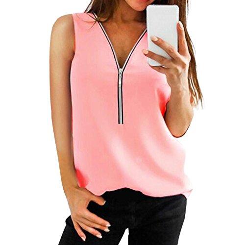 Sanfashion bekleidung camicia - con bottoni - tinta unita - rimovibile - senza maniche - donna rosa xxxl