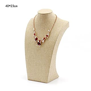 ACTNOW Beige Linen Necklace Bust Jewelry Display Stand Figure Jewelry Display Stand 40X23cm