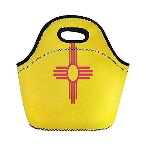 Albuquerque New Mexiko State Flag Symbol Graphic Emblem Santa Isolierte Neopren Lunchtasche für Frauen für Arbeit Erwachsene Herren Kinder Picknick Lunchbox Modern Lunchbox