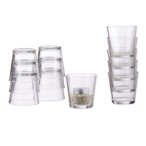 Relaxdays Teelichtgläser 12er Set, konisch, Tischdeko, Gläser für Dessert, Votivgläser, Gastgeschenk, 7,5 cm Ø, klar
