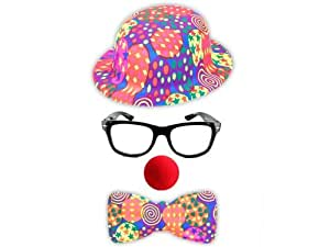 Set de 4 pièces accessoires pour déguisement clown (S2): Chapeau melon, noeud-papillon , lunettes et Nez clown rouge. idéal pour soirées déguisées anniversaire fête carnaval spéctacle surprise original