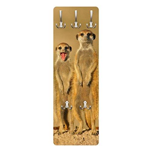 Apalis 79165 Wandgarderobe Meerkat Family | Design Garderobe Garderobenpaneel Kleiderhaken Flurgarderobe Hakenleiste Holz Standgarderobe Hängegarderobe | 139x46cm