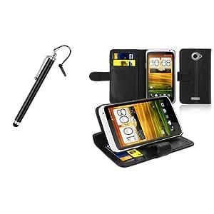 Noir Cuir Credit Carte Portefeuille Housse Coque + Stylet Pour HTC One x XL