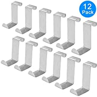 AUSTOR Pack of 12 Stainless Steel Over Door Hooks Hanger Over Cupboard Hooks Drawer Hook for Office and Kitchen (2cm to 4.5cm Door or Drawer)