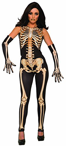 Großbritannien Kostüm Skelett - Forum Novelties AC80994 Knochen-Kostüm, Schwarz, Weiß, Gelb, Einheitsgröße