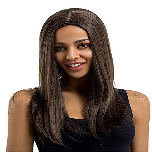 Damen PerüCken Braun Mittellang PerüCke Braun PerüCke NatüRlich Braun 24-Zoll-elegante lange glatte braune Haare Perücke für Lady Charming(Braune Farbmischung)