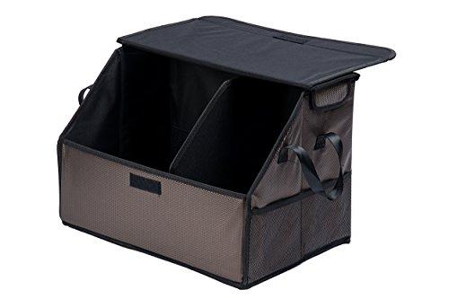 Autobox Tasche Auto Kofferraum Zubehör Kofferraumtasche faltbar – Stabiler und faltbarer Kofferraum Organizer Autotasche Aufbewahrung für Auto, SUV, Minivan, Truck & Anwendungen Braun