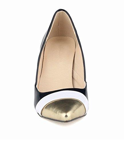 Wealsex Escarpins Vernis Couleurs Mélangées Bout Or Bout Pointu Talon Moyen Aiguille Chaussure de Soirée Mariage Mode Talon 8 Cm Femme Noir