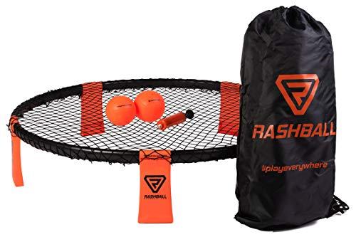 Rashball Roundnet Set | PRO ist bei Uns Standard | Verstärkte Ringelemente | Für Anfänger und Profis | #playeverywhere: Park, Strand & Halle | Set inkl. 2 Bällen, Ballpumpe, Rucksack & Regeln
