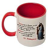 Tazza mug 11 oz con interno e manico colorati Amore non è amore se. citazione Shakespeare con...