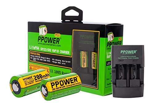 2X PPOWER 3V Real Kapazität 200 mAh CR2 15270 15266 Wiederaufladbare LiFePO4-Batterien + Schnellladegerät für 3V CR2-Lithiumakkus + Autoladegerät  - Lithium-batterie-ladegerät Cr2