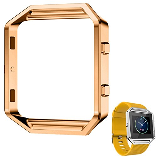Fulltime® LFQ-65 Luxus-Uhr aus Edelstahl Ersetzen Metallrahmen -Uhr-Halter Uhrenarmband für Fitbit Blaze Smart Watch (Gold 1)