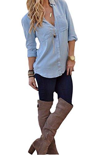 Damen Herbst Art Und Weise Lose Freizeit Schlanke Denim T-Shirt Tops Langarmshirts Hemden Blouse (S, Blau) (Marilyn Kleid Plus Size)