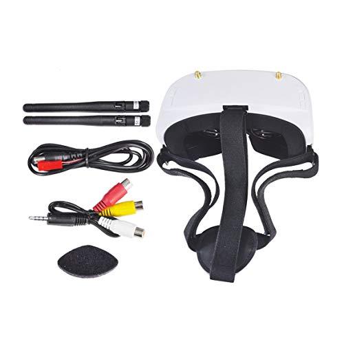 JohnJohnsen SKYZONE SJ-RG01 5.8G 48CH FPV-Schutzbrille mit Dual-Display-Diversity-DVR e 3,7 V 1500-mAh-Batterie VS Eachine VR D2 Pro 5 Fatshark (Weiß) (Vs-system-box)