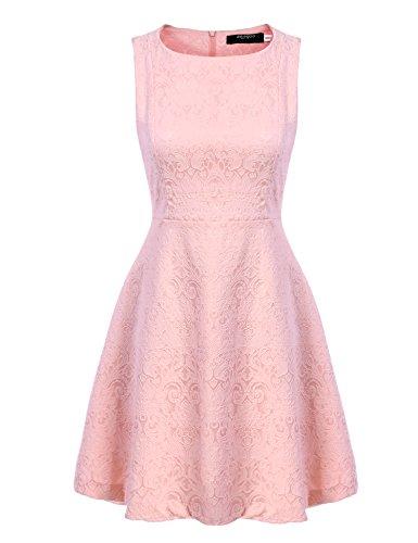 Zeagoo Damen Elegant Partykleid Festliche Kleider Jacquard Kleid mit ausgestelltem Saum (EU...