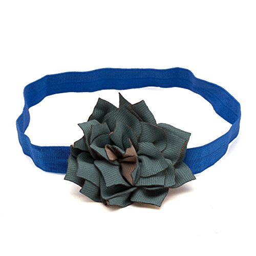 NeedyBee Dull Green Big Flower Soft Elastic Baby Headband & Hair Accessory for Baby Girls kids(Kids Hair Accessories)