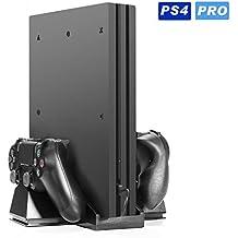 [Versione Per PS4 PRO] KingTop PS4 PRO Doppia Stazione Ricarica Controller con doppia Ventola Di Raffreddamento per PS4 PRO Ventola Di Raffreddamento Con Ventilatore USB HUB