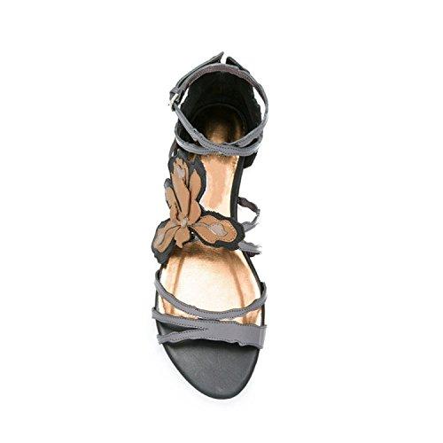 Fleurs sandales femmes spell chaussures plates de couleur 2017 été nouvelles sandales à bout ouvert doux plat Gray