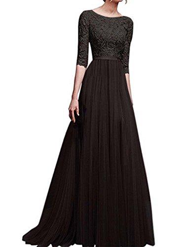 Frauen Spitze O-Ausschnitt Chiffon Blumenmädchen langes Kleid Prinzessin Abendkleid (Kleider Für Frauen-spitze-schwarz)