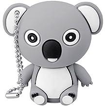 SUNWORLD 16GB USB Stick 2.0 Speicherstick Neuheit Nett Koala Tier Flash Laufwerk Drive mit Schlüsselanhänger Grau