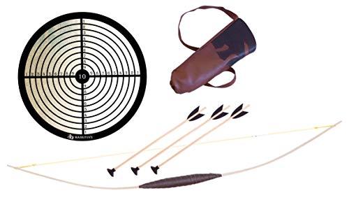 MankiToys Kinderbogenset enthält Kinderbogen aus Holz 80cm mit Köcher, 3 Pfeile mit Saugnapf und Zielscheibe, Kinderbogen ab 5, Bogenschießen (80)