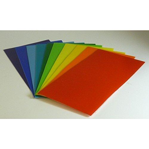 Wachsplatten Sortiment Regenbogen, 10-farbig 20x10 cm 9786 - Verzierwachsplatte 200x100 mm für Kerzen