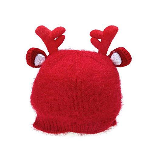 (MMJ Baby-Weihnachtsnetter Hut-Kind-warmer Rotwild-Geweih-Strickmütze-neugeborener Herbst und Winter mit Kapuze Weihnachtswarmer Hut (Farbe : Red, größe : M))