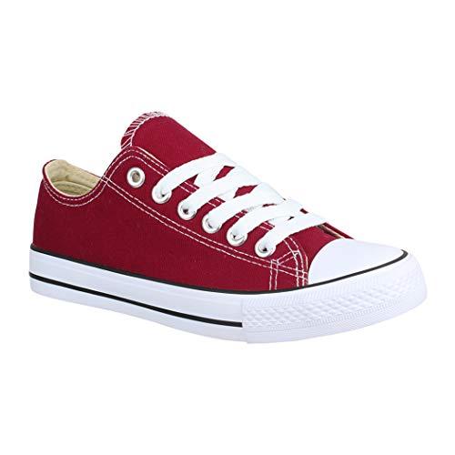 Elara Unisex Sneaker Low top Turnschuh Textil Chunkyrayan 36-46 A-YD3230-Bordorot-40