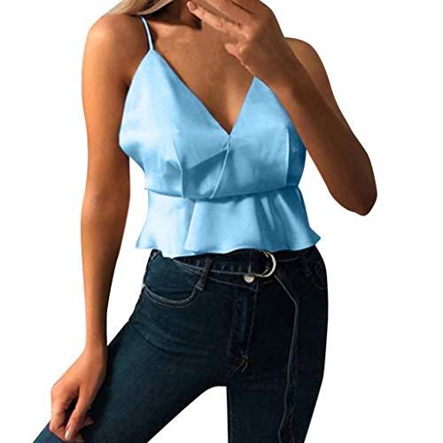 Oksea Damen Ärmel Bluse Hemd Chiffon Oberteile Tops Damen V Ausschnitt Tank Tops Lose beiläufige ärmellose Feste Shirts Solid Loose Casual Top Tank Shirt Vest