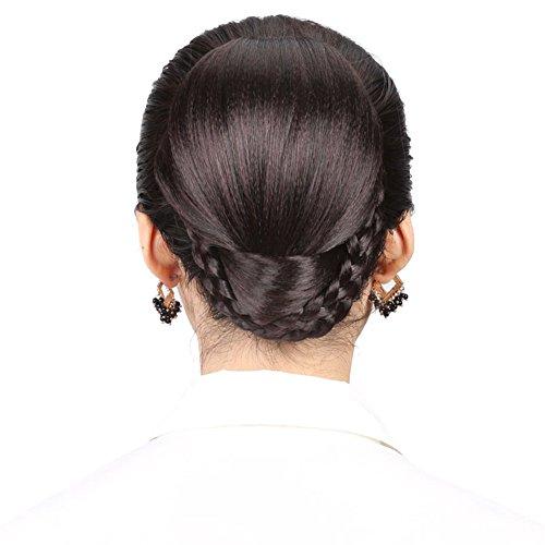 remeehi Vintage Styling Tools Synthetik Fake Haar Dutt Perücke Haar chignons Roller Haarteil Clip in schwarz Brötchen (Vintage Perücken)