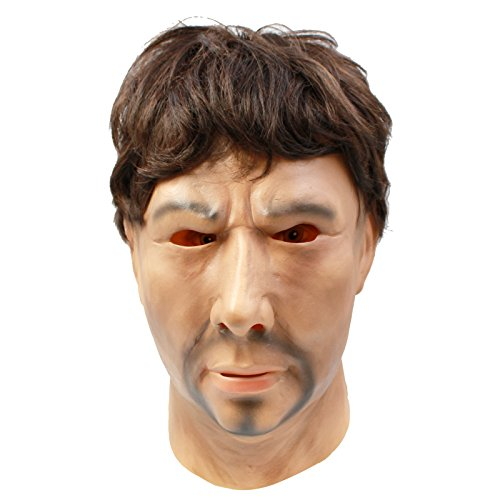 CreepyParty Máscara de Cabeza Humana de Fiesta de Traje Lujo de Halloween de Novedad Big Bad