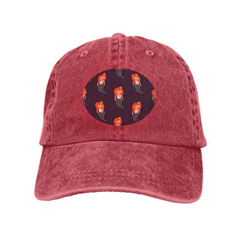 Hip Hop Baseball Cap Adjustable Denim Jean Hat Cute Redhead Mermaid Girl Dark Blue Waves Background sea Kid red Redhead Fleece