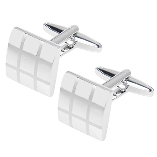 SUMAJU Cufflinks, 1 Pair Mens Checkerboard Cufflink Laser French Shirt Sleeve Cuff-Link Business Gift Wedding Present