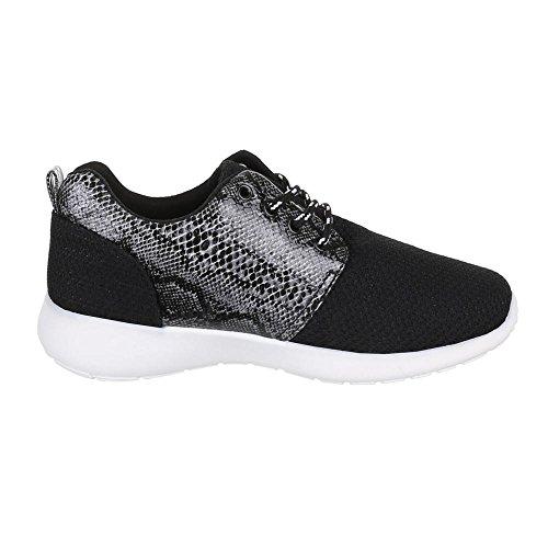 Low-Top Sneaker Damenschuhe Low-Top Sneakers Schnürsenkel Ital-Design Freizeitschuhe Schwarz 3