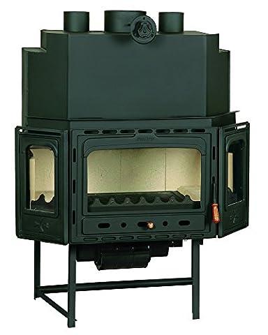 Wood burning fireplace insert Prity, Model TC2F, Heat output 20kW, Blower, Cast iron door, Panoramic