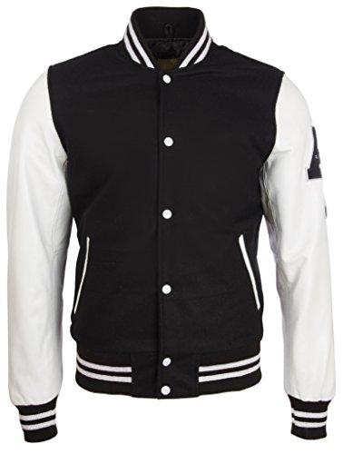 Aviatrix Herren Hochwertig Echtes Leder Und Wolle Varsity Letterman Mode Jacke (Y3EZ)