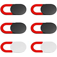 KIWI design Webcam Cover 6 Pack, Tapa Webcam Tapar Camara Portatil con un Paño Limpio para Macbook Pro Macbook Air PC Mac iPhone Laptop iPad Smartphone (4 Negro, 2 Blanco)