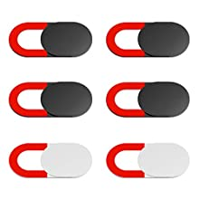 KIWI Design Webcam Abdeckung 6er Pack mit Reinigungstuch Webcam Cover Laptop Kamera Cover Folie Ultradünn Laptop, PC, MacBook, iMac, Computer, iPad, Smartphone (4 Schwarz, 2 Weiß)