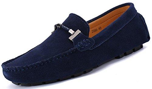Joomra mocassins scarpe da uomo casual cuoio eleganti estivi nappine pelle senza lacci barca pantofola blu scuro 40