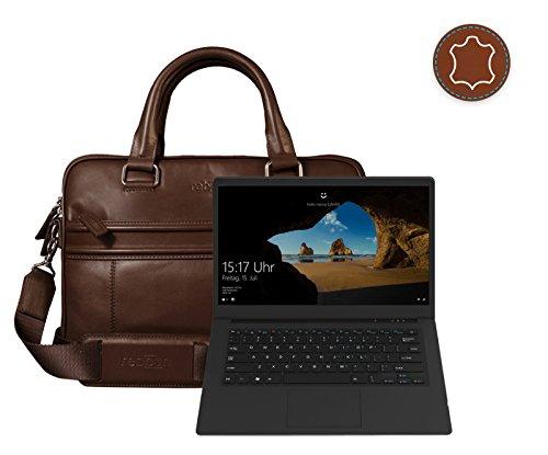 Leder Laptoptasche für Damen/Herren passend für Odys Trendbook Next 14 Pro   Braun